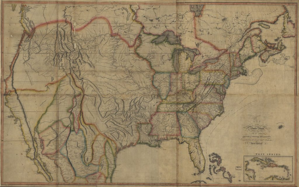 Old Map Feature The First Transcontinental Map Of The Us Great - Old-map-of-us