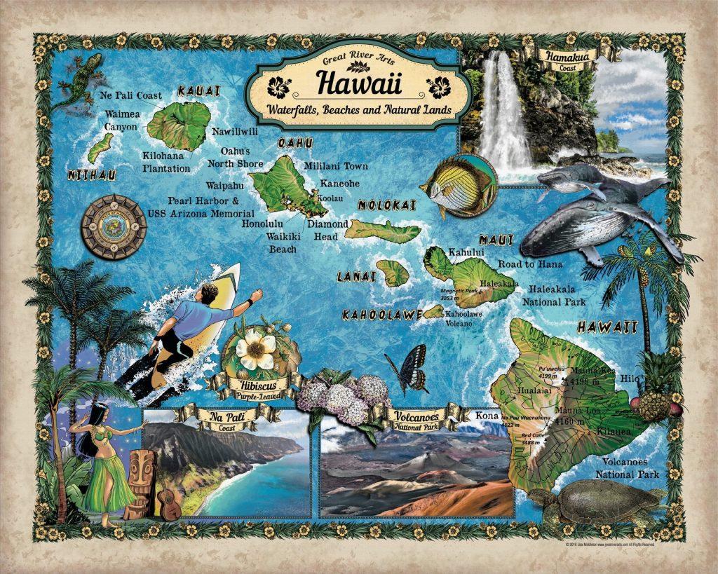 Educational Map Series: 208 Custom map of Hawaii Waterfalls, Beaches on kauai lihue hawaii, kauai hawaii beaches, snorkeling in hawaii, lava big island hawaii, kauai kona coffee,