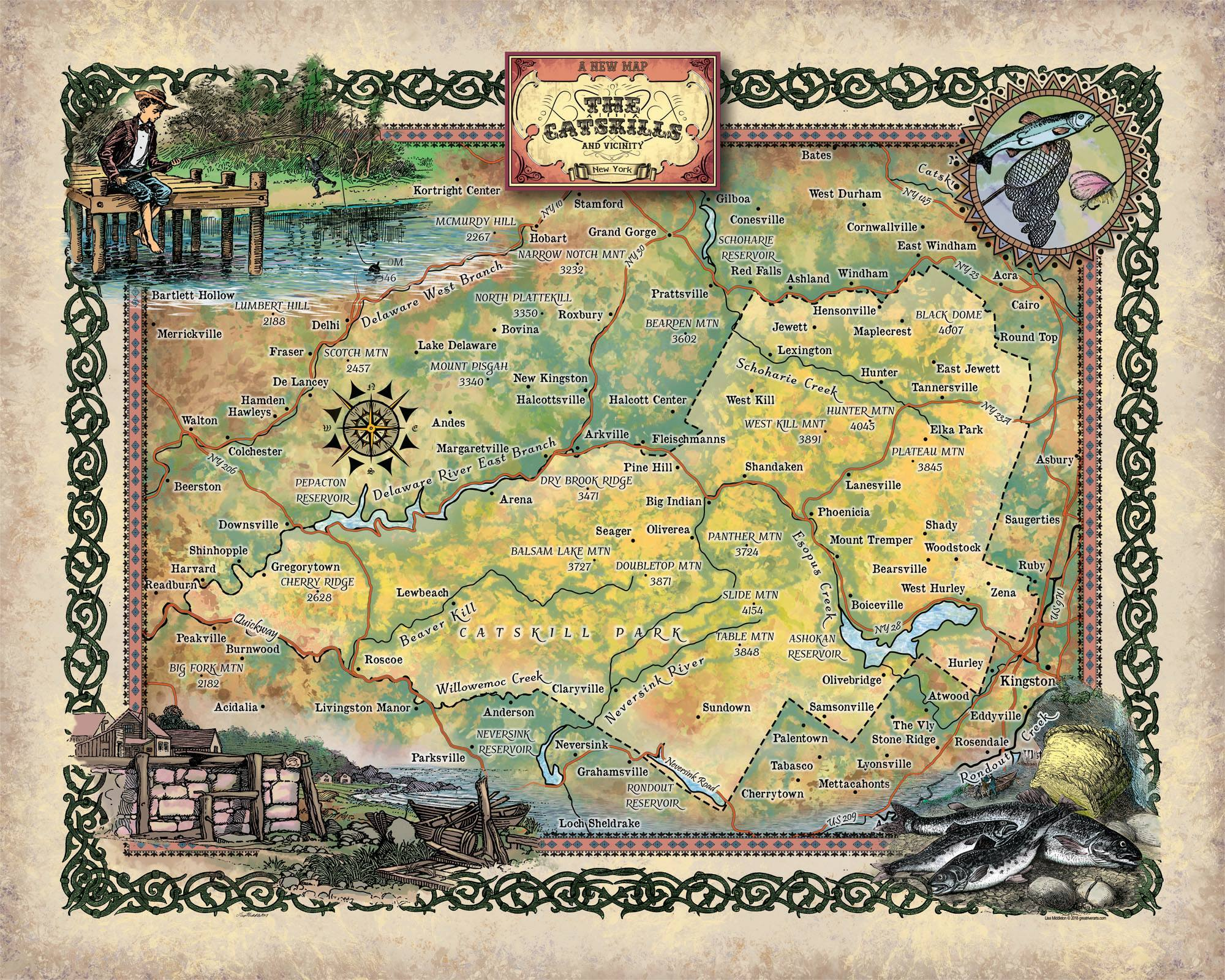 Travel Map Feature: Catskills Region - Great River Arts on lake placid, sierra nevada, great smoky mountains, kaaterskill falls map, sullivan county, capital district map, berkshires map, woodstock festival, allegheny plateau, green mountains, bemus point map, slide mountain, adirondack mountains, the finger lakes map, monticello map, watertown map, greater nyc map, catskill state park, wayne county ny snowmobile trail map, nyc watershed map, hudson river, kaaterskill falls, mount mitchell, brownsville map, taconic mountains map, delaware river, lafayette map, hudson valley, white mountains, appalachian mountains, lake charles map, charlottesville map, abilene map, amherst map, borscht belt, eastern ny map, morgantown map, eastern wv map,