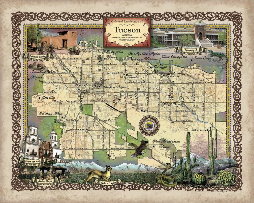 Travel Map Of Arizona.Travel Map Feature 222 Custom Map Of Tucson Arizona Great River Arts