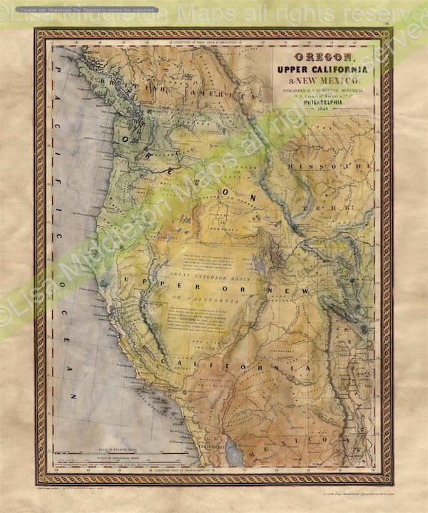 Map Of California To Oregon.Educational Map Series 101 Oregon Upper California And New Mexico