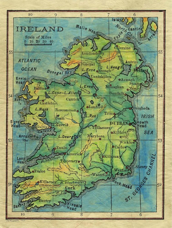 Travel Map Feature: 057 Ireland 1906 - Great River Arts on