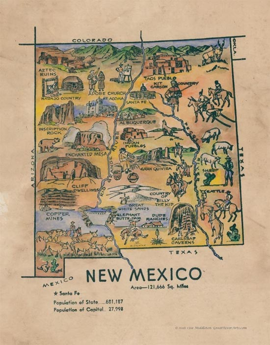Map Of Texas New Mexico And Colorado.Educational Map Series Kid S Map Of New Mexico Great River Arts